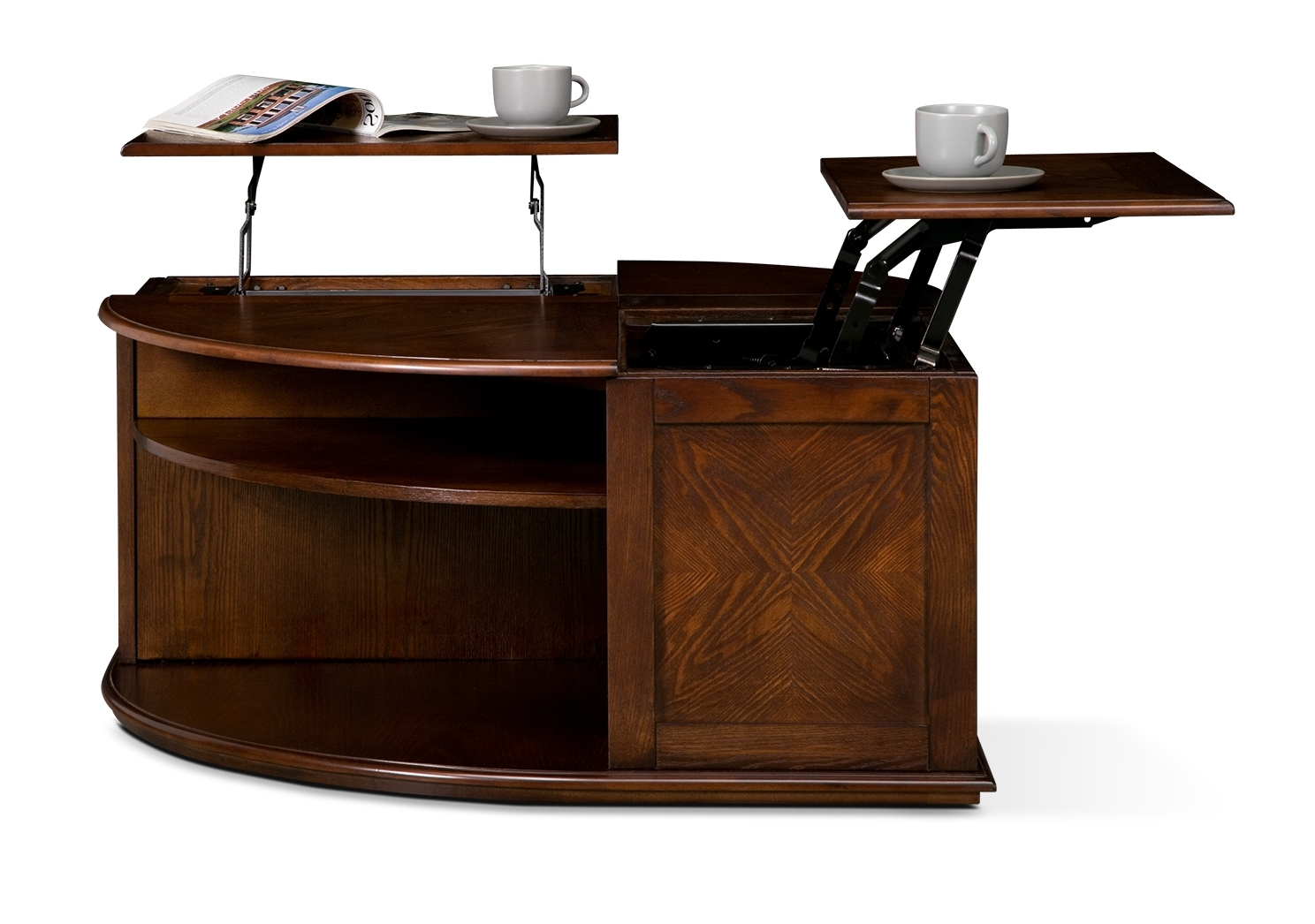 double lift top coffee table in regal walnut