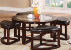 glass dark round coffee table with seats