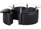 glass round coffee table with seats ottoman