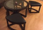 glass round coffee table with seats ottoman furniture