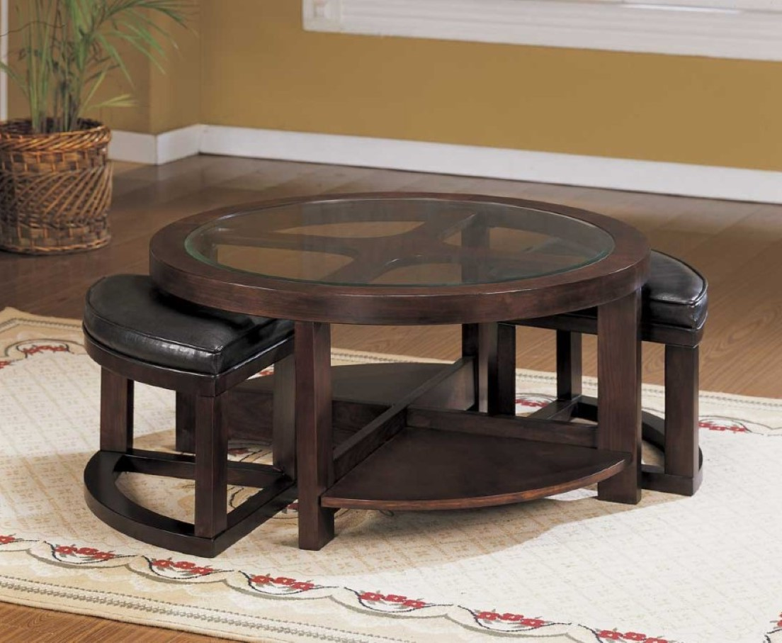 glass round coffee table with seats underneath