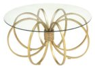 glass top 30 inch round coffee table with copper legs