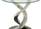 glass top brushed nickel coffee table