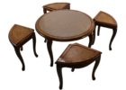 glass top wood round coffee table with seats