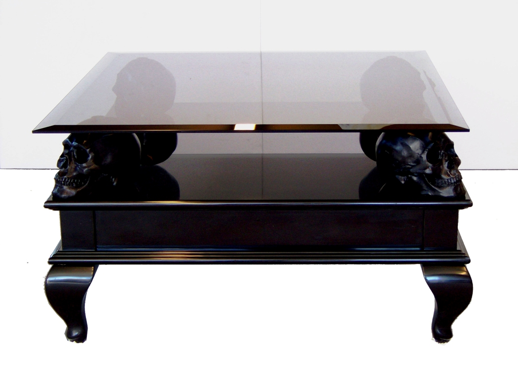 glass wood skull coffee table