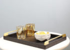 gold coffee table tray black wood