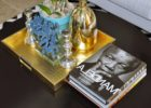gold coffee table tray decor