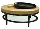 gold coffee table tray with black legs
