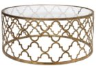 gold quatrefoil coffee table glass on top