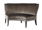 grey frabric curved settee for round dining table