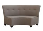 grey tufted curved bench for round dining table