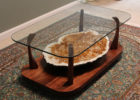 large citrine geode coffee table