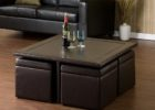 leather square coffee table with pull out ottomans