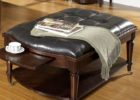 leather tufted cushion coffee table with storage