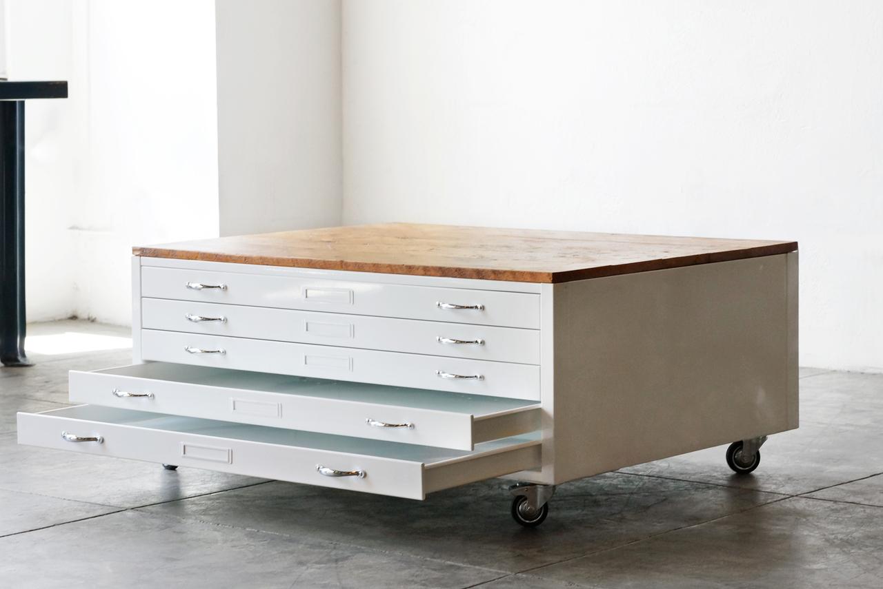 libary vintage flat file coffee table