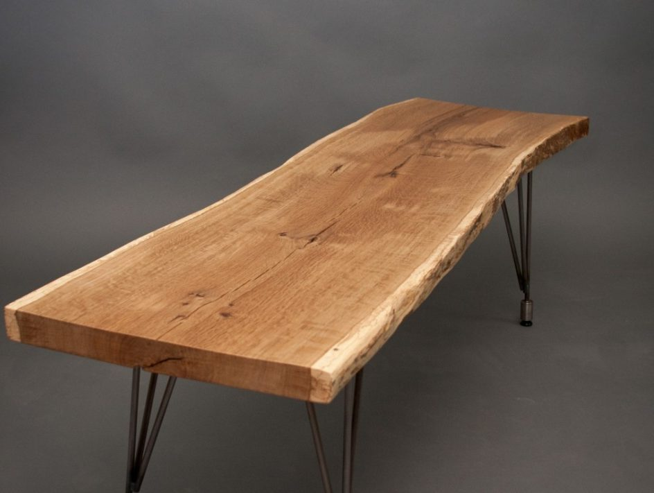 log wood dining table with metal legs