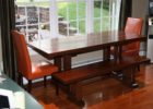 long narrow dining table with bench cheap