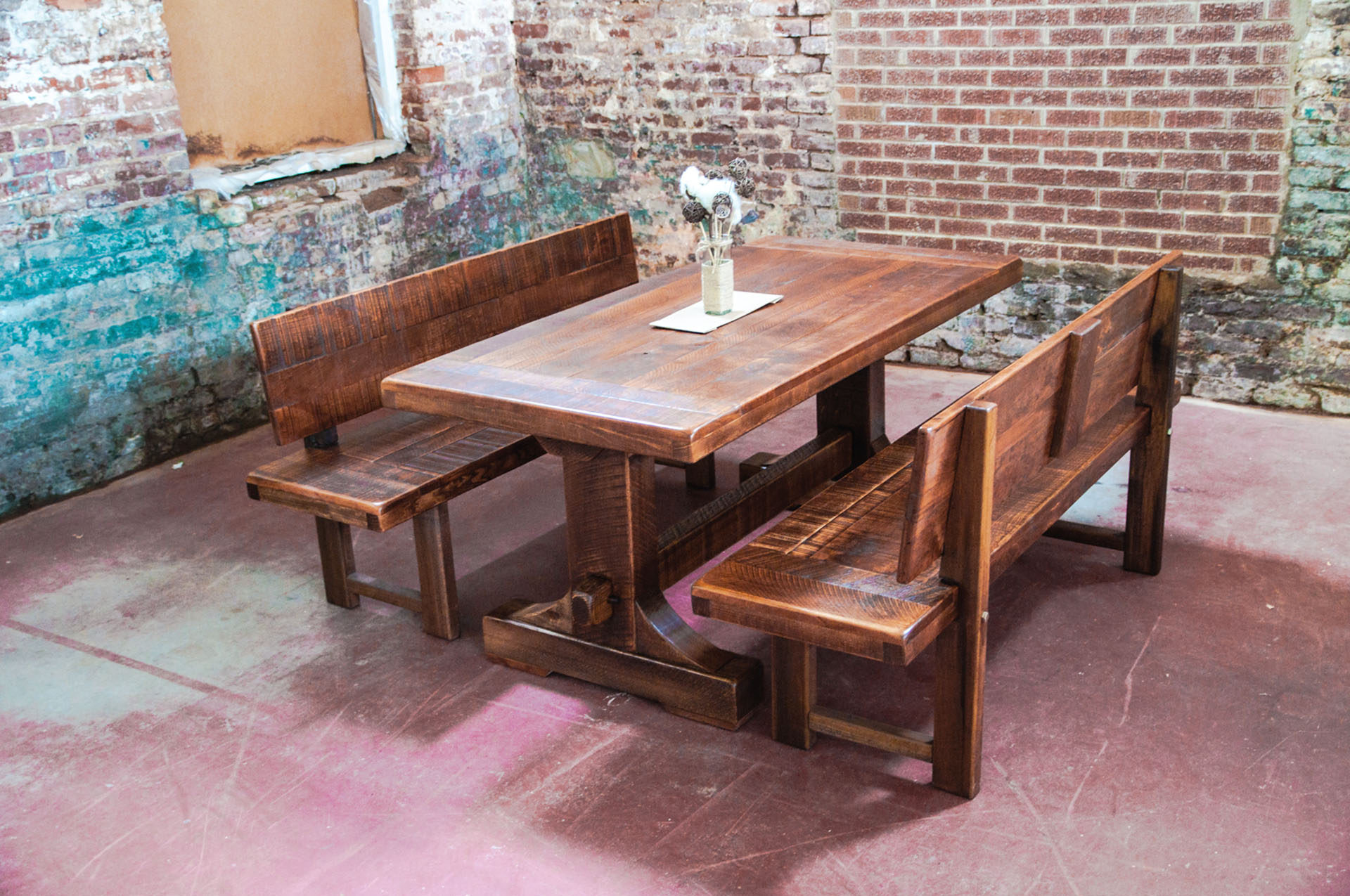 long narrow dining table with bench