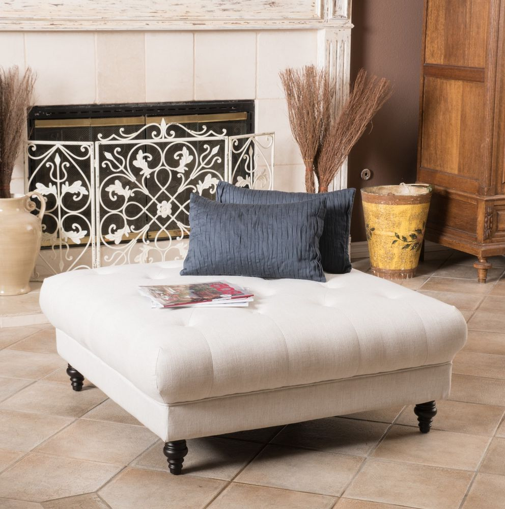 low square white leather ottoman coffee table
