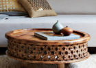 low wood round moroccan style coffee table