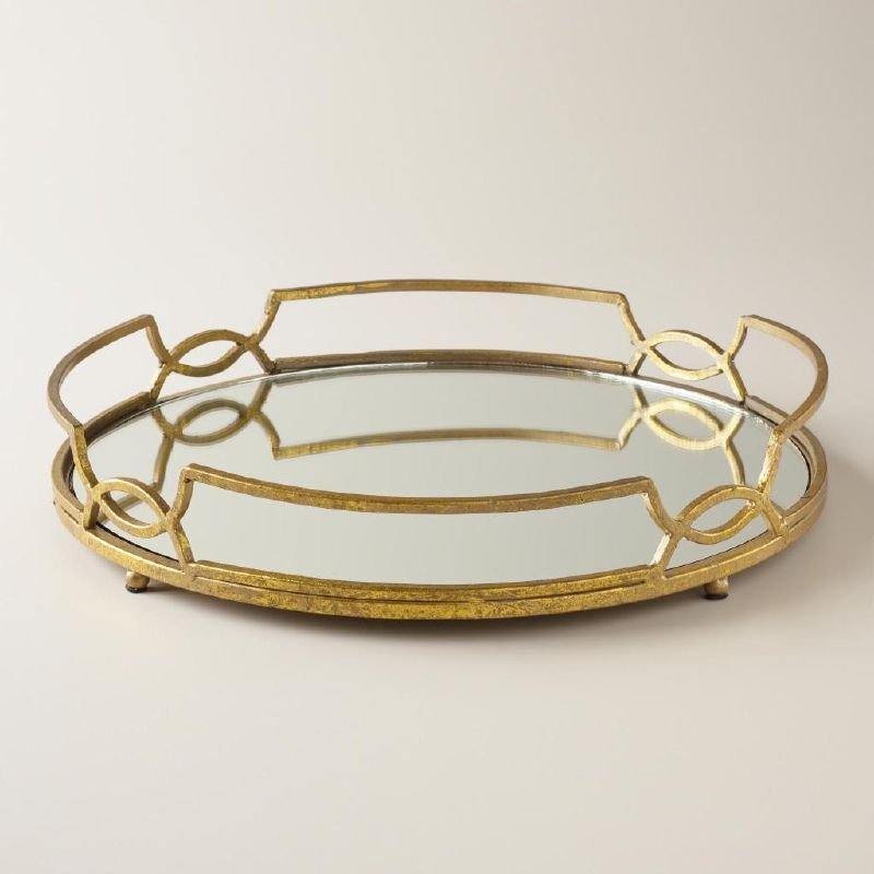 mirrored gold coffee table tray