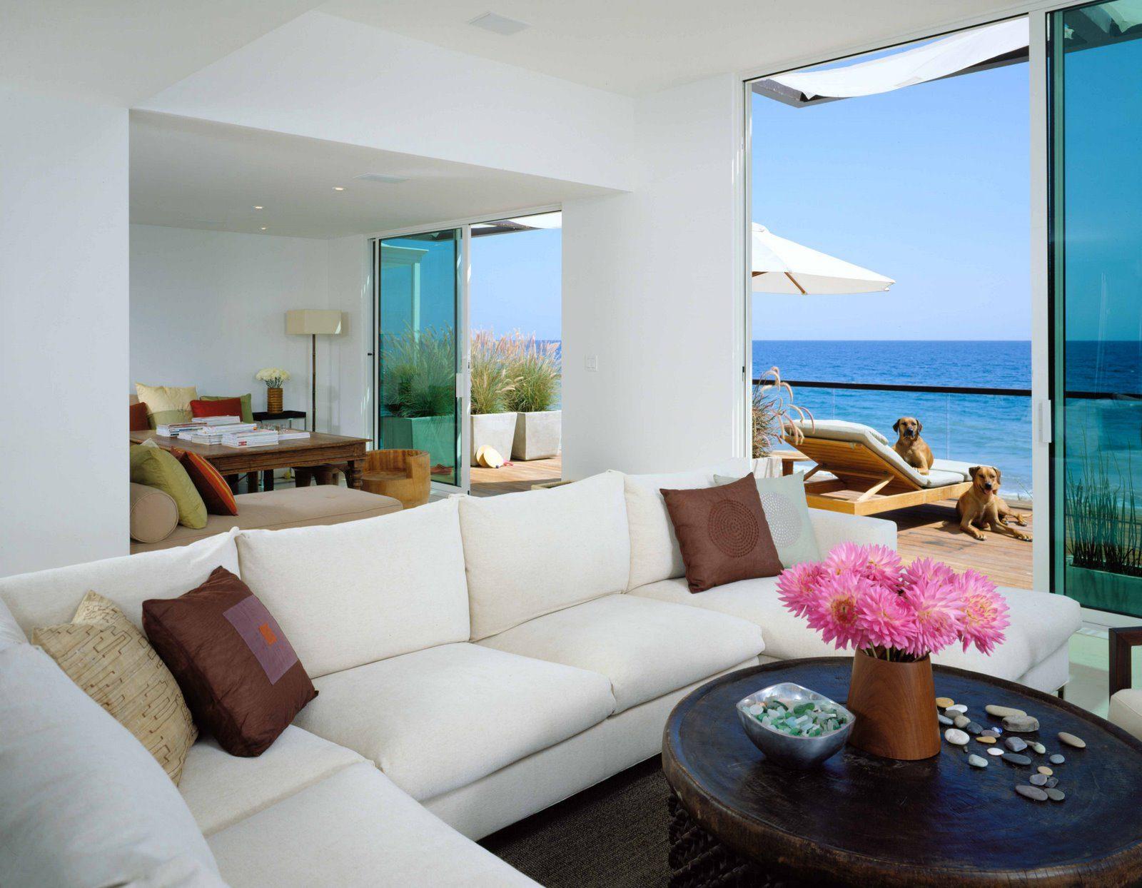 modern beach themed coffee table decor