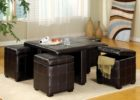 modern black square coffee table with pull out ottomans