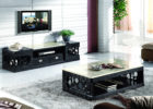 modern black tv stand and coffee table set with faux marble on top