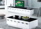 modern black white tv stand and coffee table set with storage