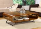 modern faux wood chrome and wood coffee table
