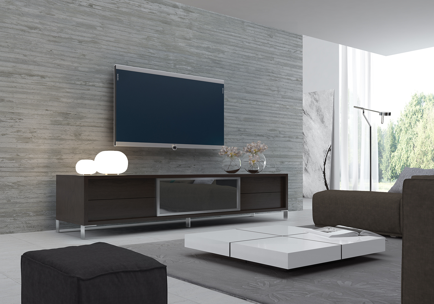 modern low white tv stand and coffee table set