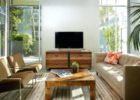modern oak wood tv stand and coffee table set