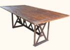modern reclaimed wood dining table with metal legs
