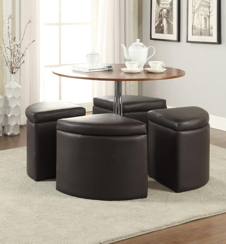 modern round coffee table with pull out ottomans