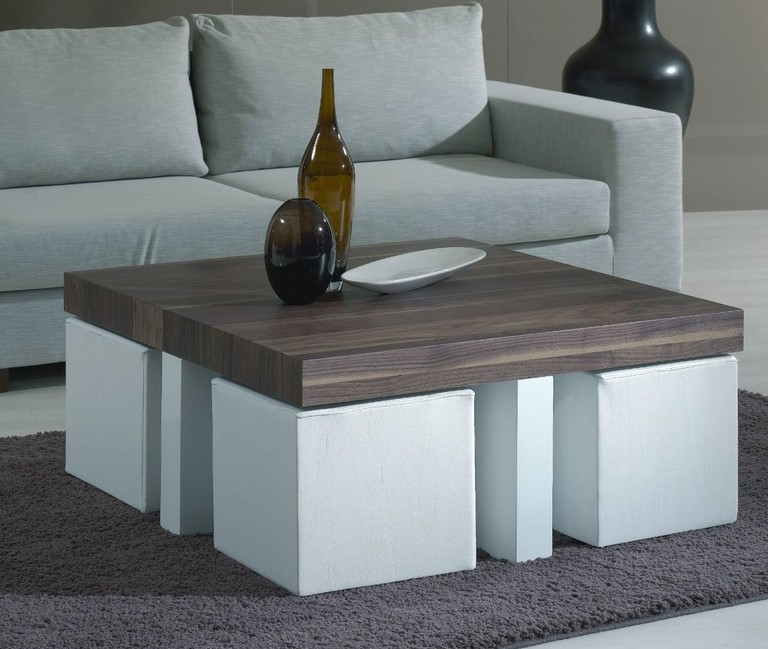 modern square coffee table with pull out ottomans