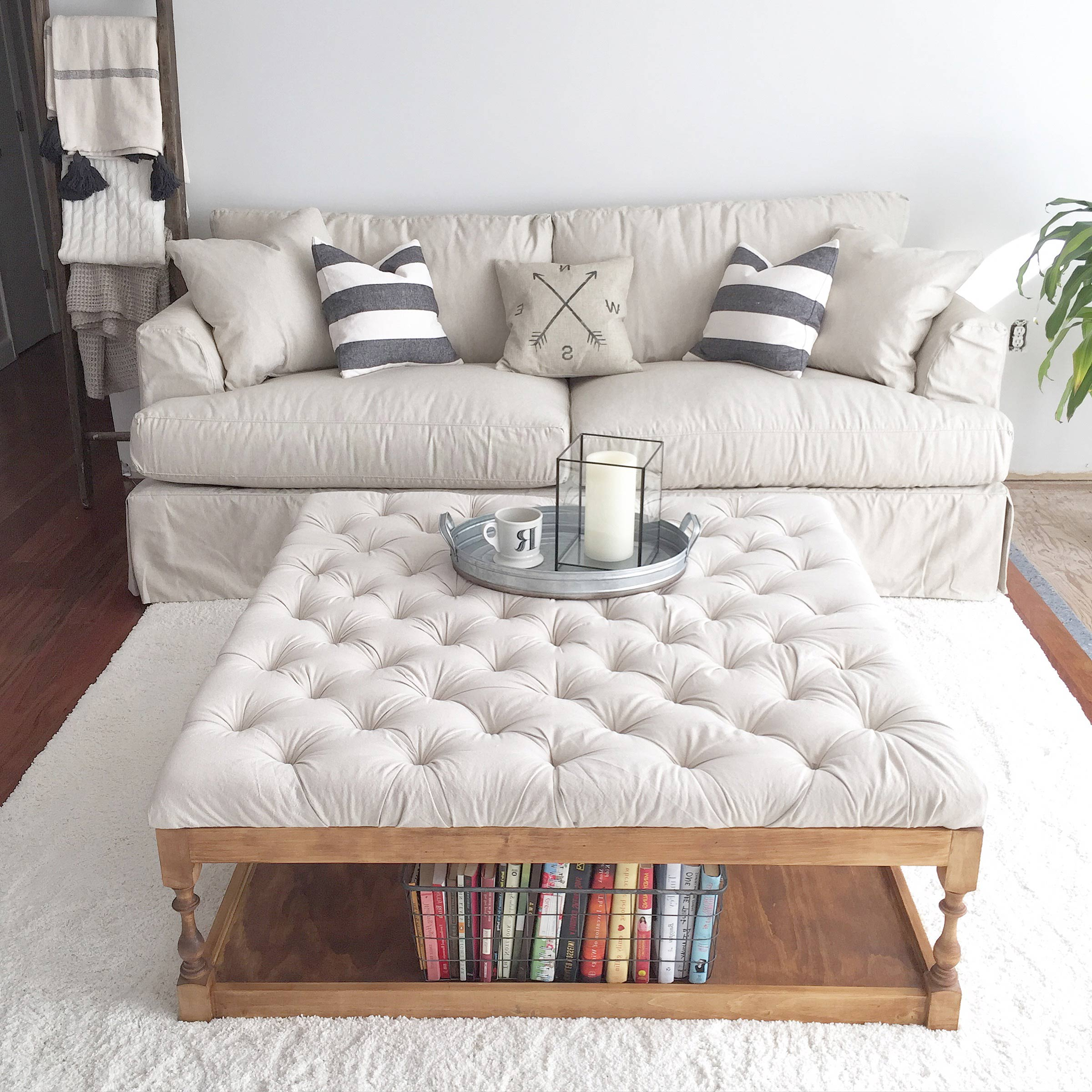 modern square tufted white leather ottoman coffee table