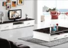 modern tv stand and coffee table set with storage