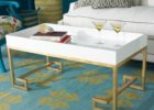 modern white gold coffee table tray