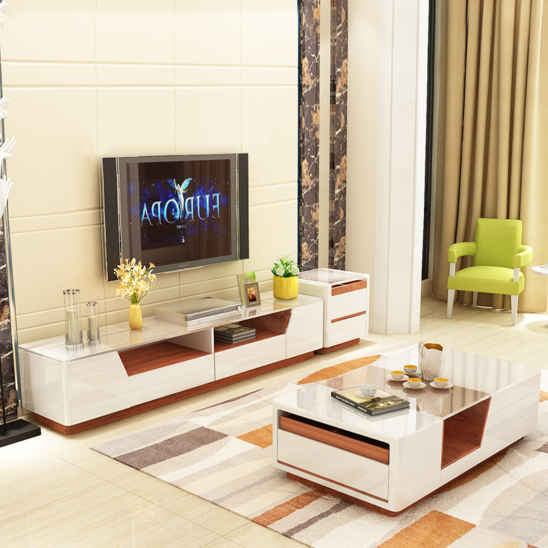 modern white tv stand and coffee table set with storage