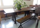 narrow dining table with bench counter height