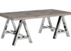 natural chrome and wood coffee table reclaimed wood
