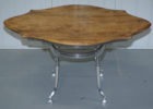 natural wood chrome and wood coffee table