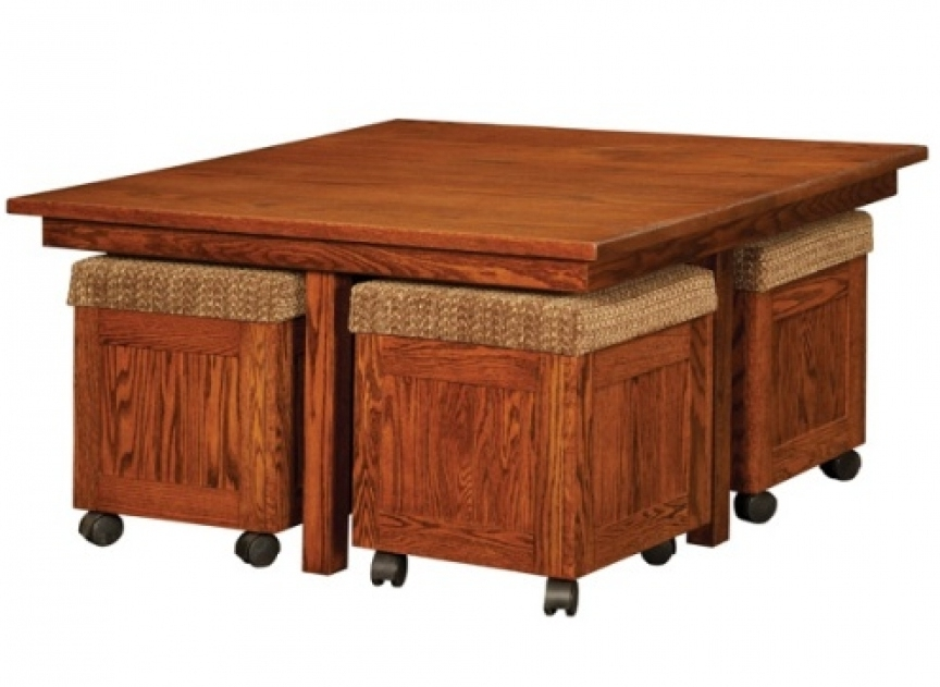 oak wood coffee table with pull out ottomans