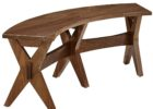 oak wood curved bench for round dining table