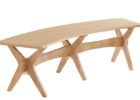 oak wood curved bench for round dining table furniture
