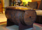 oak wooden barrel coffee table uk