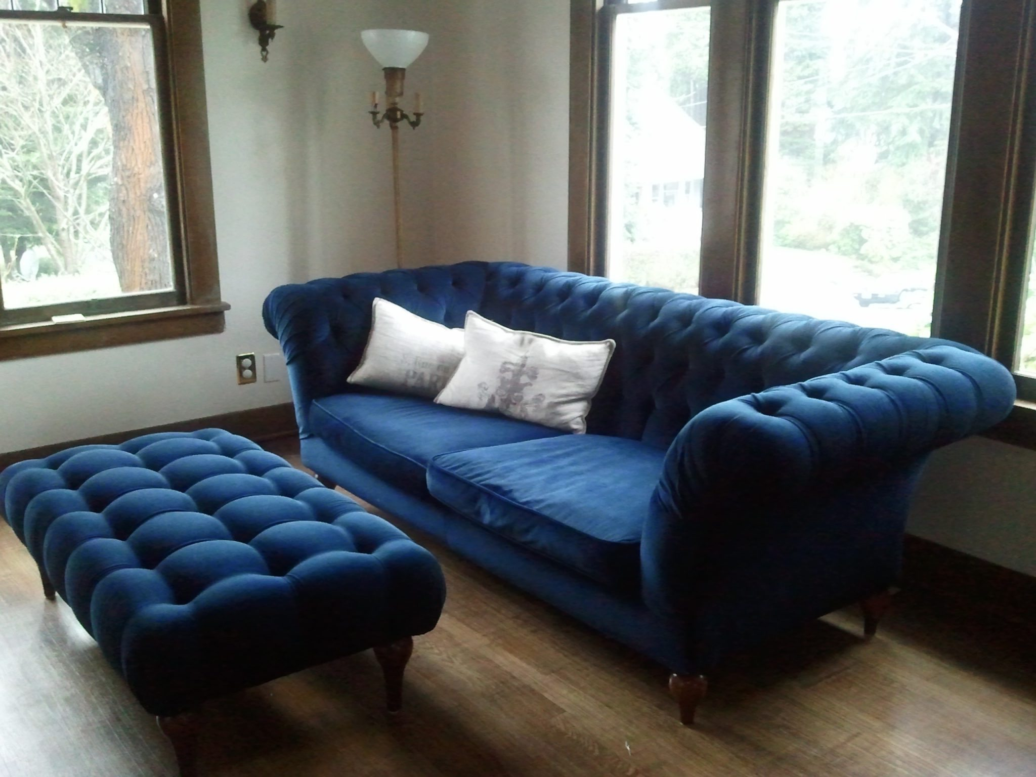 ottoman navy blue coffee table with tufted