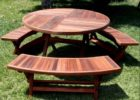 outdoor coffee table with umbrella hole with bench