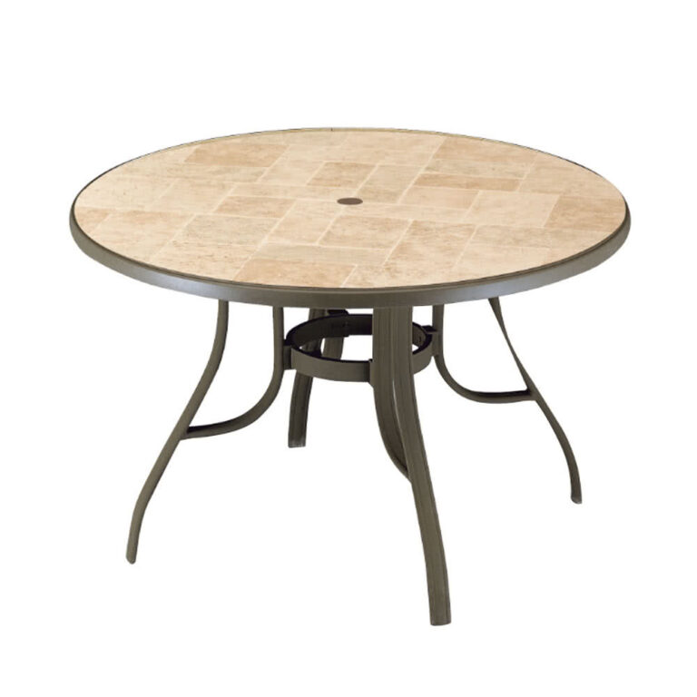 outdoor coffee table with umbrella hole with metal frame