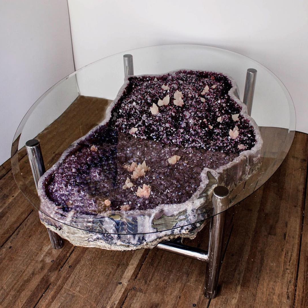 oval citrine geode coffee table with glass on top